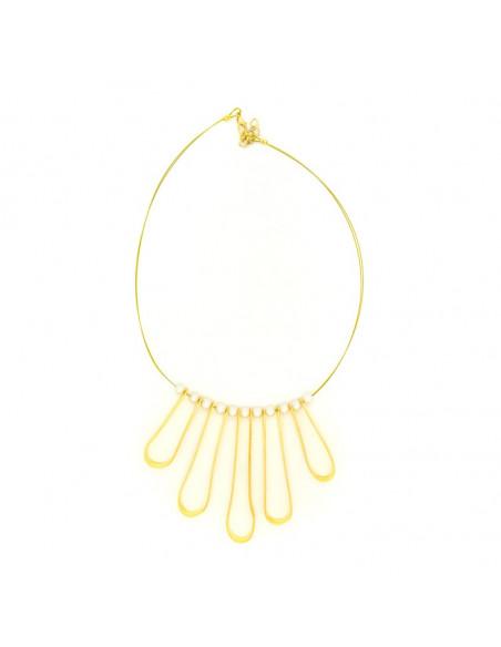 Statement Halskette aus vergoldeter Bronze mit kleinen Perlen EIRIN H20140636