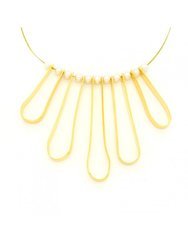 Statement neckace from gold plated bronze with small pearls EIRIN H20140636