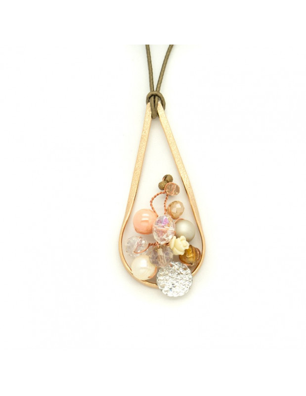 Long Bronze Necklace rose gold HOLA