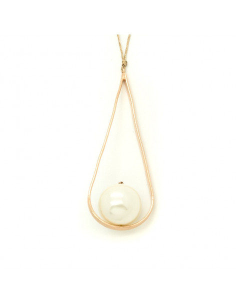 Long necklace with satin cord and handmade pearl pendant CAT H20140690