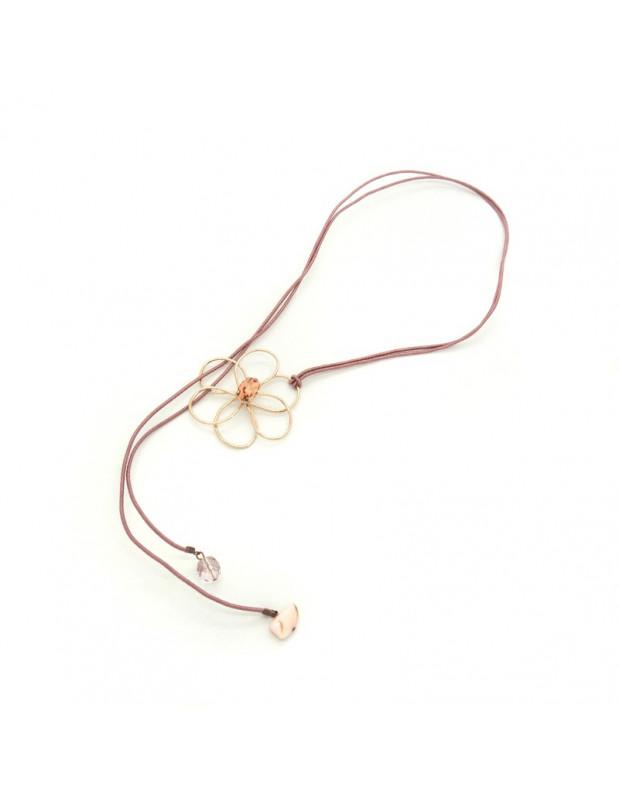 Halskette mit rosévergoldetem Blumen Anhänger EWAS H20140691