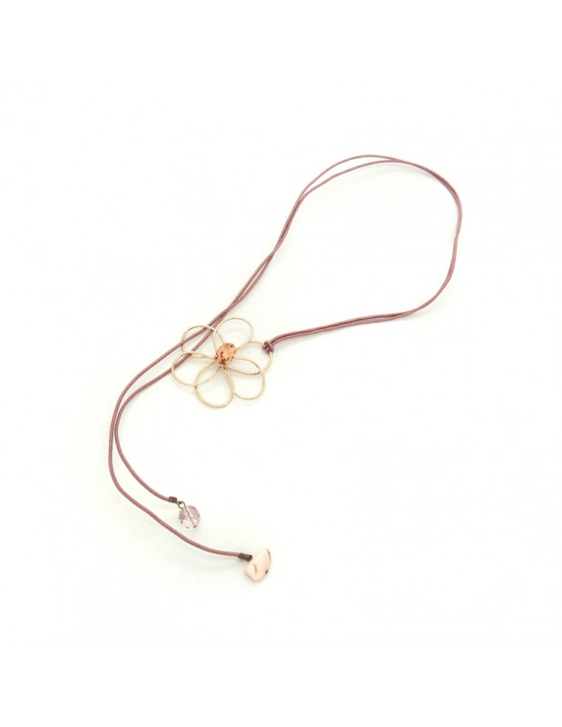 Necklace with rose gold plated flower pendant EWAS H20140691