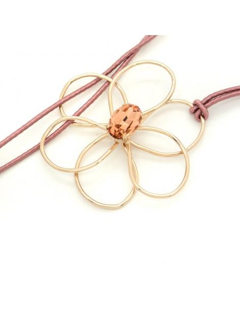 Κολιέ με ροζ επίχρυσο μενταγιόν λουλούδι EWAS H20140691