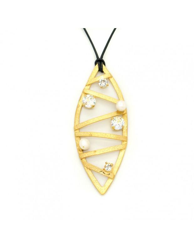 Long necklace with bronze pendant gold DANDELIO