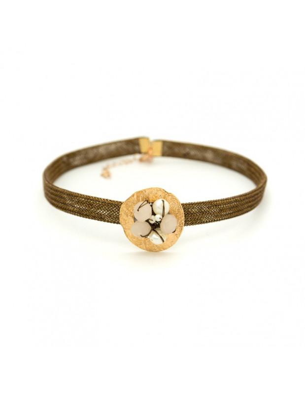 Choker Halskette aus rosévergoldeter Bronze mit Meshband MESH H20140711