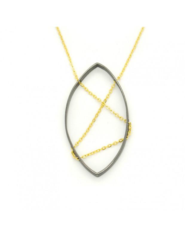 Lange Halskette mit schwarzem großem Bronze Anhänger ADDE H20140674