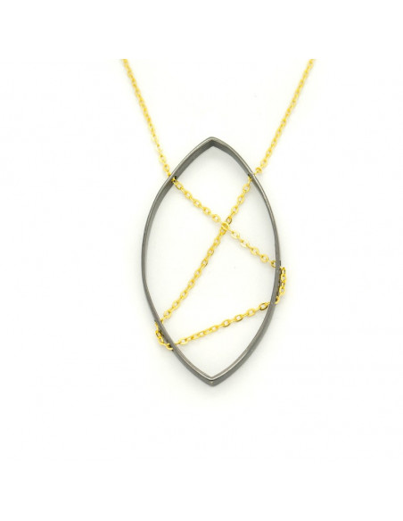 Long necklace with black colored bronze pendant in oval shape ADDE H20140674