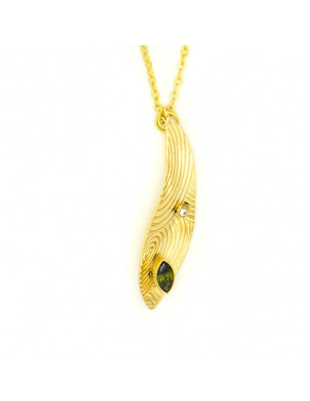 Long necklace with gold plated bronze pendant in leaf shape HERB H20140676