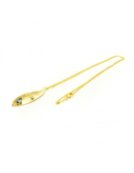 Long necklace with crystals gold HERB 3
