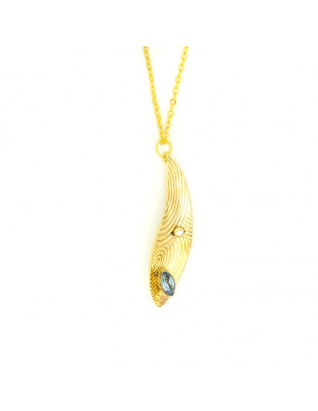 Long necklace with crystals gold HERB