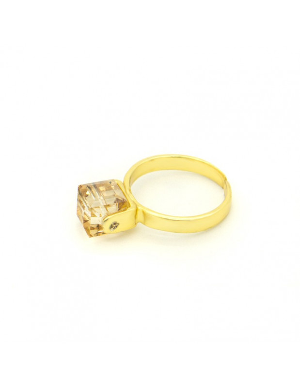 Solitaire ring with brown crystal gold CUBE