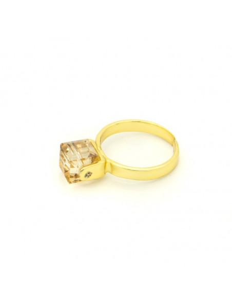 Solitär Ring mit braunem Zirkon gold CUBE