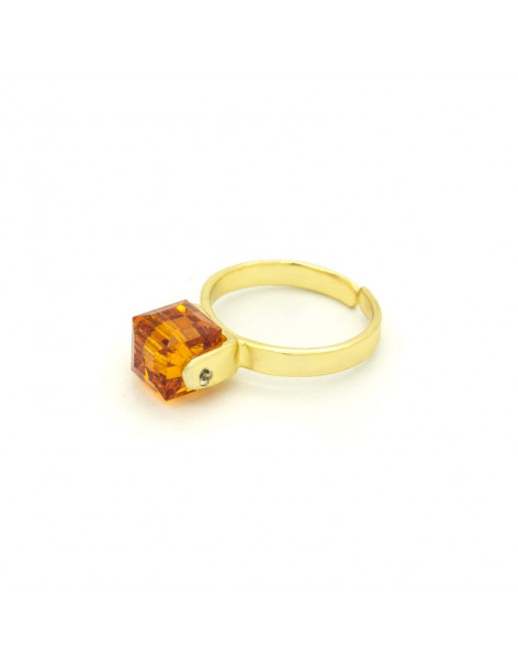 Solitaire ring with amber zircon gold CUBE