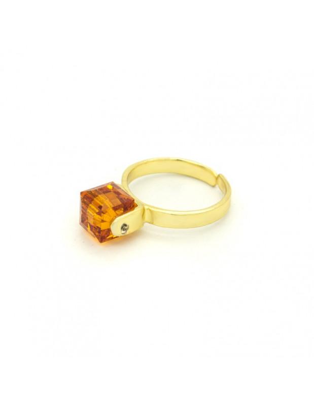 Solitär Ring mit bernstein farbenem Zirkon gold CUBE