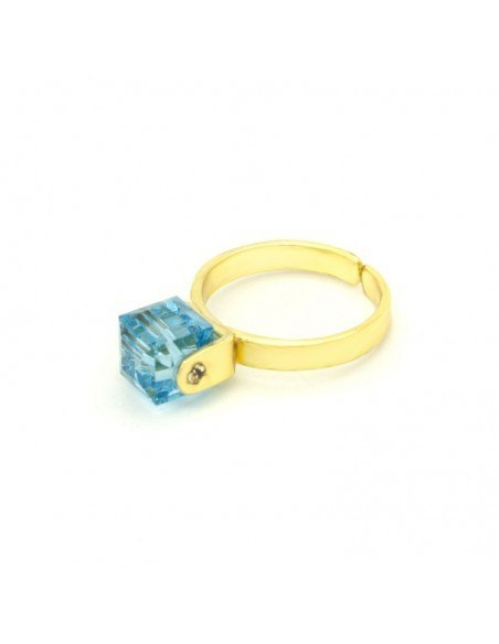 Solitaire ring with blue crystal gold CUBE