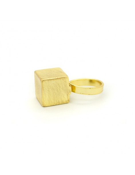 Statement ring from gold plated brushed bronze KAIRO R20140630
