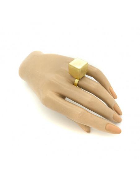 Μεγάλο δαχτυλίδι από μπρούτζο χειροποίητο χρυσό KAIRO 3