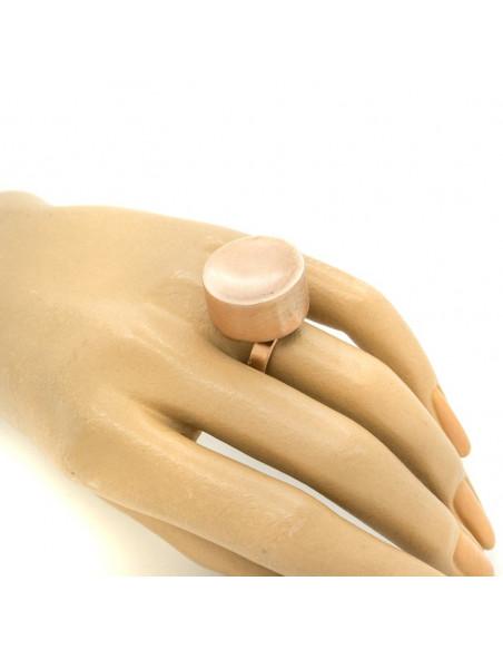 Μεγάλο δαχτυλίδι από ροζ επίχρυσο βουρτσισμένο μπρούτζο σε σχήμα κύβο TANIS R20140631