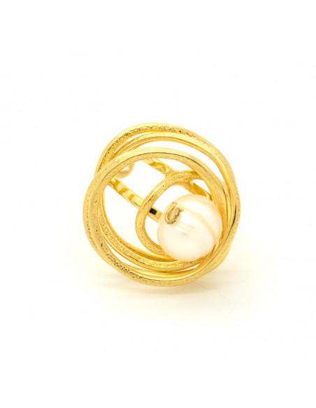 Χειροποίητο δαχτυλίδι από επίχρυσο μπρούτζο με μαργαριτάρι γλυκού νερού DISO R20140642