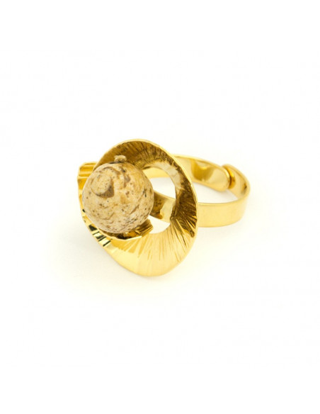 Ring in ancient greek design with mineral stone gold MERI 3