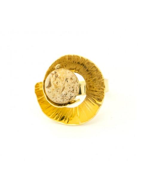 Ring im griechischen Design mit Mineralstein gold MERI