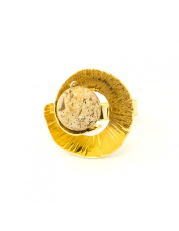 Χειροποίητο δαχτυλίδι από επίχρυσο μπρούτζο με γνήσια ορυκτή πέτρα MERI R20140644