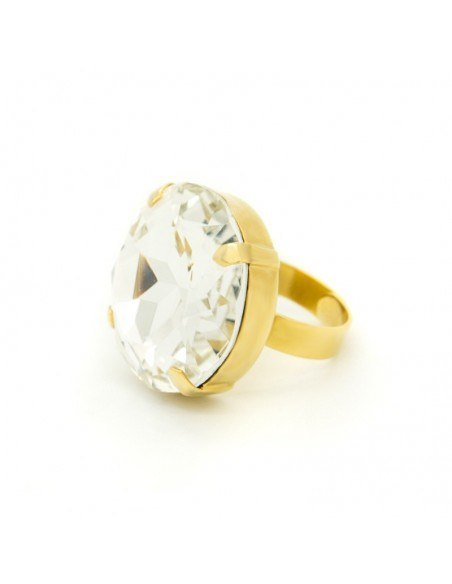 Statement ring with big crystal gold TELIV 2