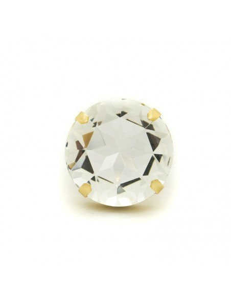 Statement ring with big crystal gold TELIV