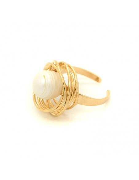 Ring with sweetwater Pearl of rose gold plated bronze PALE 3