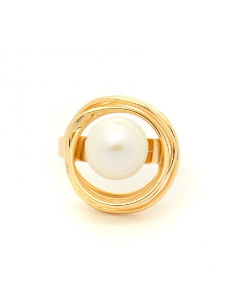 Χειροποίητο δαχτυλίδι από ροζ επίχρυσο μπρούτζο με μαργαριτάρι γλυκού νερού PALE R20140633