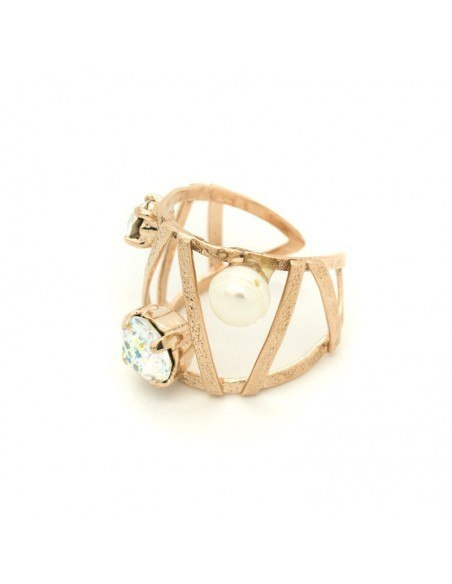 Ring with rhinestones & pearl rose gold VERIA 3