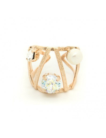 Ring with rhinestones & pearl rose gold VERIA
