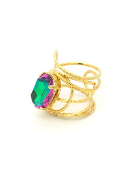 Statement ring with big colored rhinestone gold HYPE 3