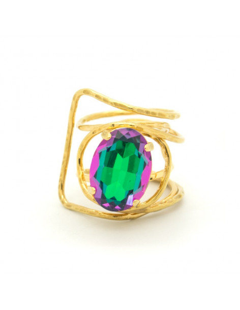 Statement ring with big colored rhinestone gold HYPE