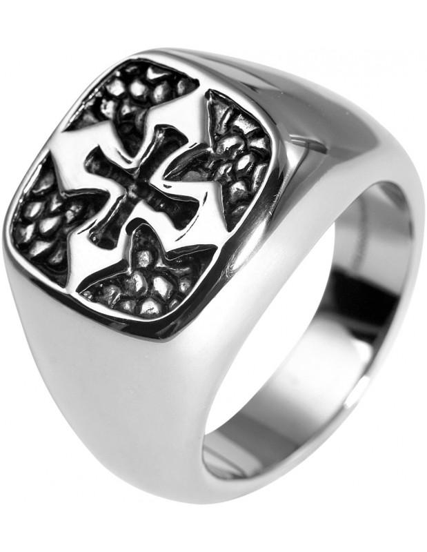 Ανδρικό δαχτυλίδι σφραγίδα από ατσάλι CROSS R20140604
