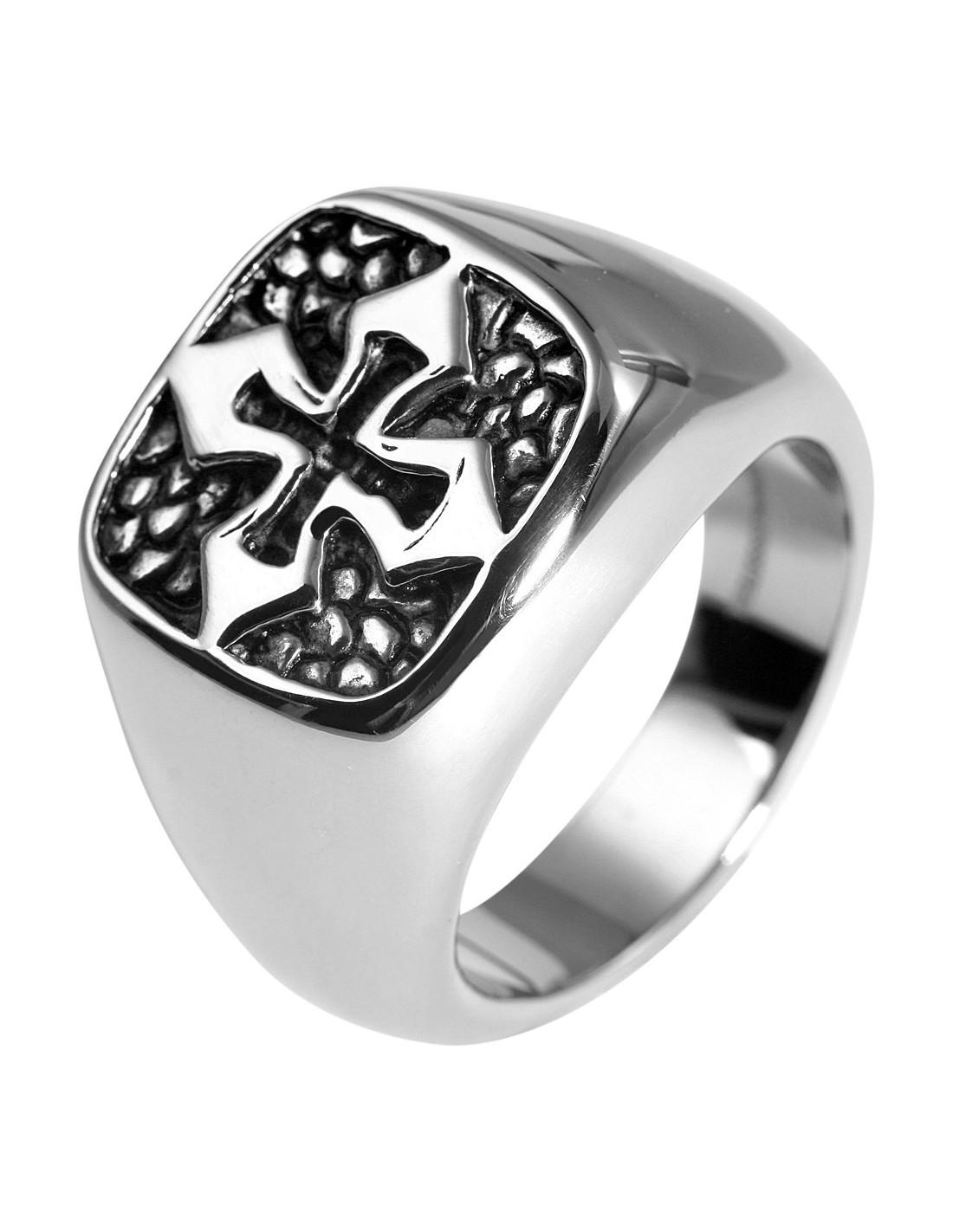 Ανδρικό δαχτυλίδι σφραγίδα από ατσάλι CROSS R20140604 1384caf5496