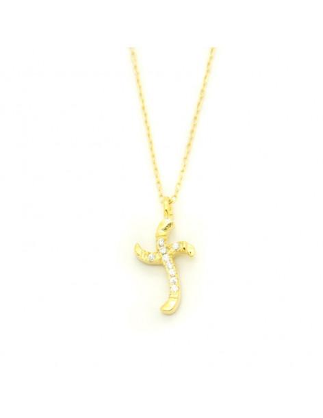 Κολιέ σταυρό από επίχρυσο ασήμι με λευκά ζιργκόν H20140740