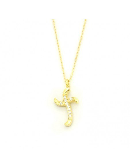 Cross Necklace of Silver  with crystals gold FILLI