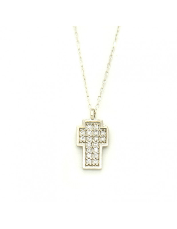 Cross Necklace of sterling silver with crystals FRELIV