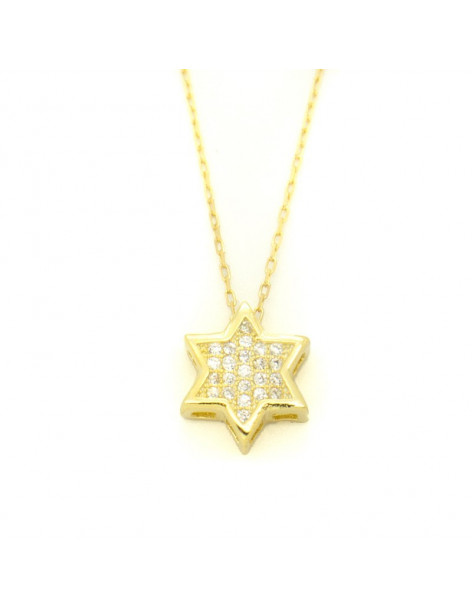 Silver Necklace Star with crystals gold RELLI