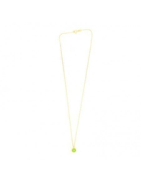 Ασημένιο Κολιέ με πράσινο ζιργκόν χρυσό LIRES 3