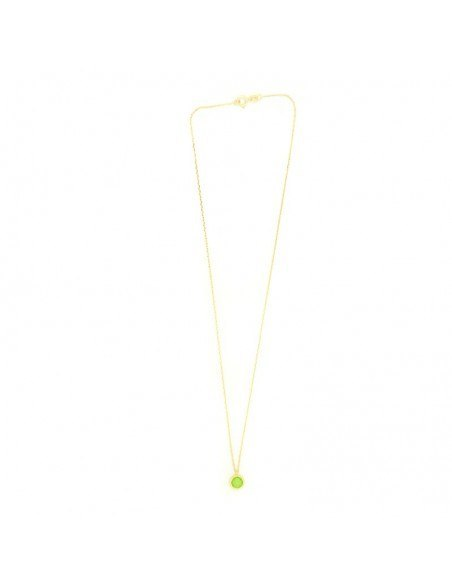 Silver Necklace with green crystal LIRES 3