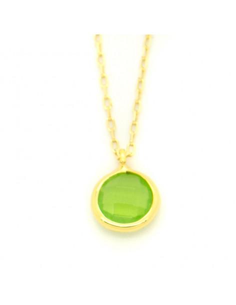 Ασημένιο Κολιέ με πράσινο ζιργκόν χρυσό LIRES