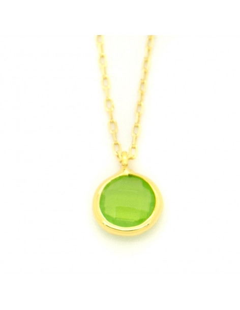 Silver Necklace with green crystal LIRES