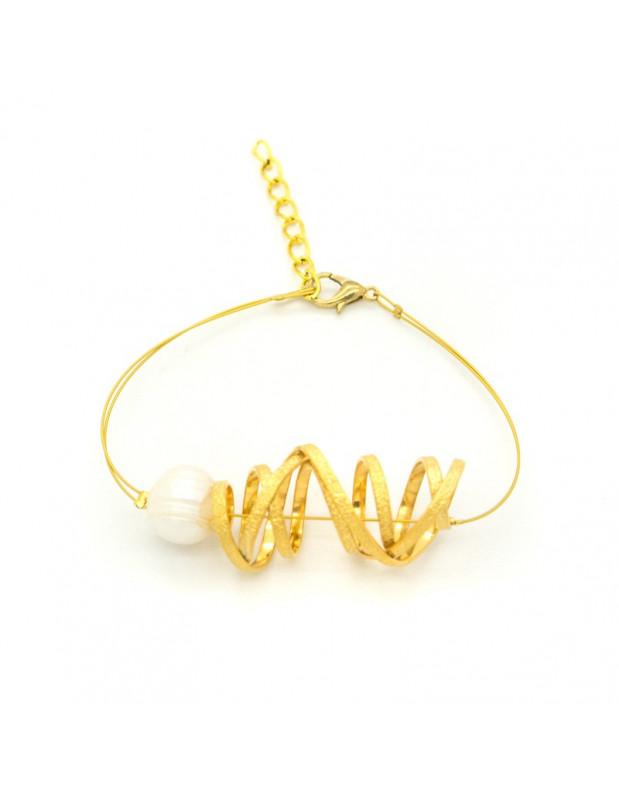 Armband aus Bronze mit Perle handgemacht gold STIFT