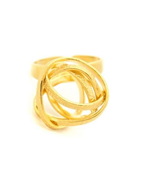 Griechischer Designer Ring aus Bronze gold PLANITI 3