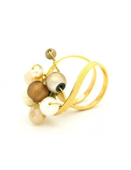 Ring with rhinestones & pearls gold HOLA