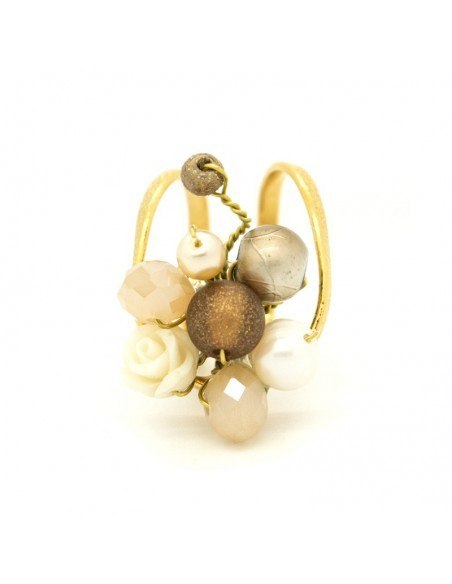 Ring with rhinestones & pearls gold HOLA 3