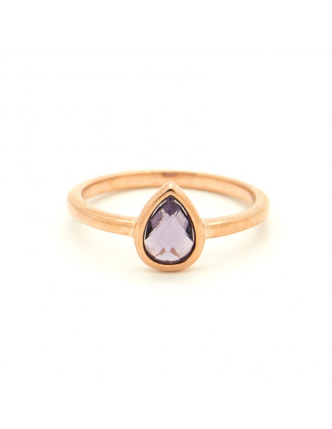 Ring of 925 silver with purple crystal rose gold OVAL