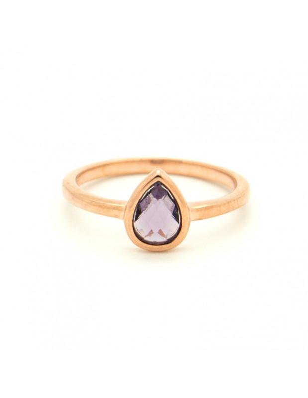 Ασημένιο Δαχτυλίδι με μωβ ζιργκόν ροζ χρυσό OVAL